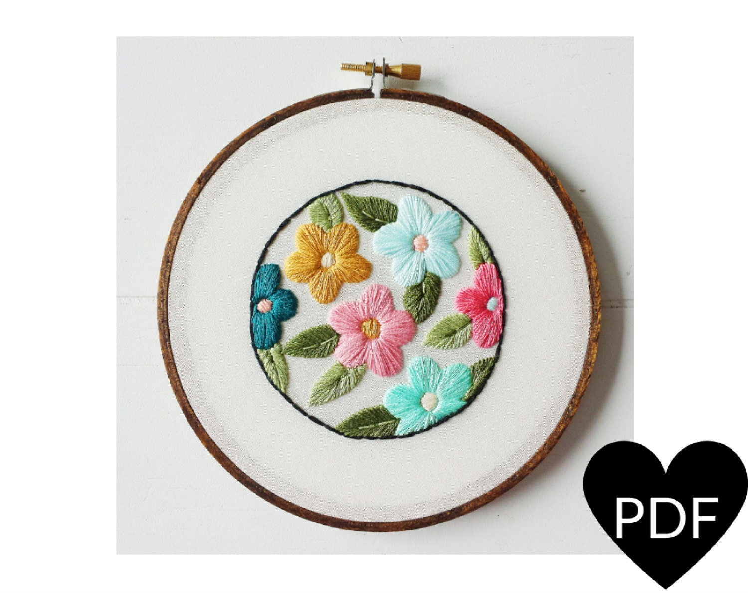 Retro floral embroidery pattern pdf vintage inspired