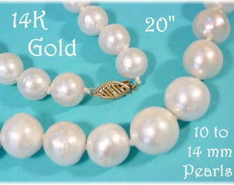 """14K Gold - South Sea Baroque White Pearl 20"""" Necklace - 10 - 14 mm Large Pearls - Hand Knotted - Gift Box - The Perfect Gift - FREE SHIPPING"""