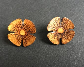 70's Slovenian Wood Carved Stud Earrings, Rustic Wooden Ear Studs, Natural Stud Earrings made from Wood, gift for her, valentines gift,