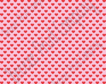 Light pink with red small heart craft  vinyl sheet - HTV or Adhesive Vinyl -  Valentine's Day HTV3953