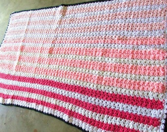 Vintage Handmade Crocheted Throw Afghan Lap 52in x 32in Black Rose Pink White Fluffy and Soft