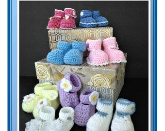 Crochet Pattern for Button Strap Baby Booties Newborn-6 Months Boy or Girl