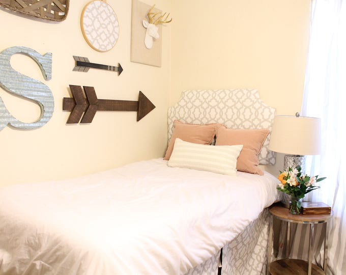 """24"""" Dorm Headboard, Solid or Printed fabric, Twin camelback headboard, wall mounted, French Grey Collection"""