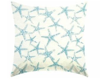 Aqua blue Pillow covers, Beach pillows, coastal pillows, nautical pillows, seahorse pillow, starfish pillow , Euro sham , ZIPPER CLOSURE