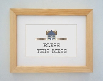 Framed 'Bless this mess' cross stitch