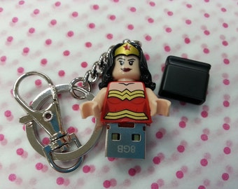 Hand Made USB Flash Drive, 16GB made using a Wonder Woman LEGO minifigure with Giftbox Mothers Day