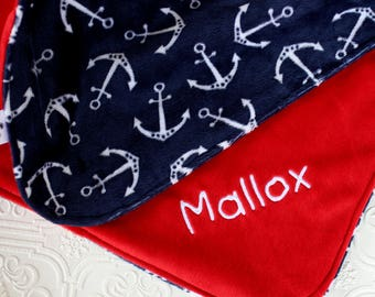 Baby Blankets,  Personalized Baby Blanket with Name, Anchor Baby Blanket, Personalized Nautical Baby Blanket, Personalized Minky Blanket