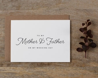 Wedding Card To My Mother + Father, To My Mom, To My Dad, To My Parents on My Wedding Day, To My Father On My Wedding Day Card, K1