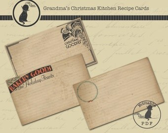 Christmas Recipe Cards, Printable Recipe Cards, Holiday Recipe Cards, PDF Recipe Cards, Vintage Recipe Cards