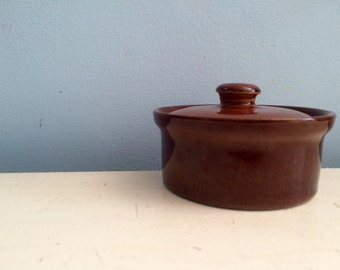 Vintage Pearsons Of Chesterfield Brown Rustic Glazed Mini Crock Pot