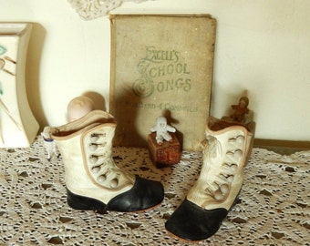 Victorian Leather Button Up Baby Booties ~ Higher Than Most Antique Child Shoes ~ Great For Large Dolls And Vintage Teddy Bears