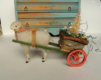 Large Vintage Wooly Sheep Pulling Cart ~ Stick Leg German Animal (?) ~