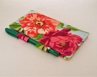 Floral Checkbook Cover, Light Blue Checkbook Holder, Floral Checkbook Wallet, Gift for Mom, Teacher Gift, Cute Gift for Friend, Gift for Her