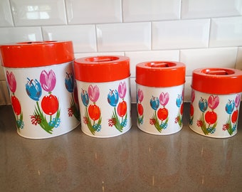 Vintage Retro Metal Nesting Canisters With Tulips