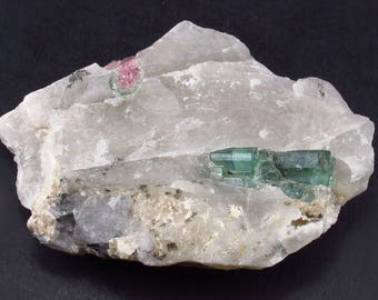 "Fantastic Bicolor Watermelon Tourmaline Crystal On Matrix from Brazil - 3.3"""