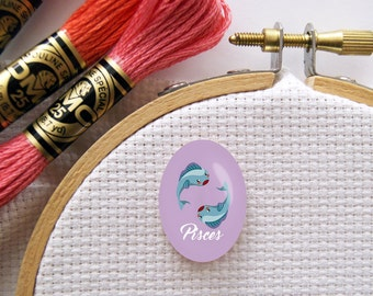 Magnetic Zodiac (Pisces) Needle Minder for Cross Stitch, Embroidery, & Needlecrafts (18mmx25mm with Strong Magnet)