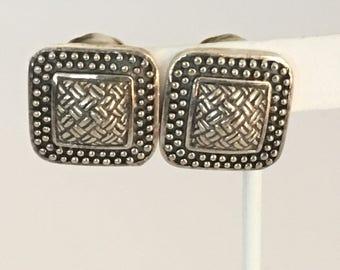 Square Basket Weave & Beaded Clip Earrings 925 Stelring Silver  gw17-089