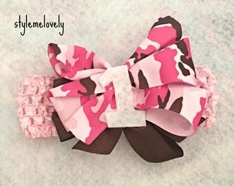 Pink and Brown Baby Girl Camo Bow Headband