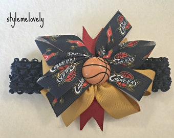 Cleveland Cavaliers Baby Girl Boutique Bow Crocheted Headband