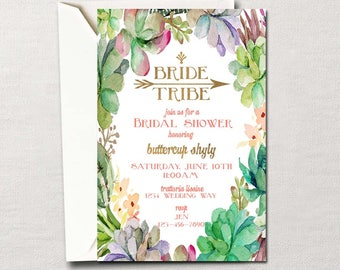 Bridal Shower Invitation ~ Bride Tribe ~ Custom Printable Set