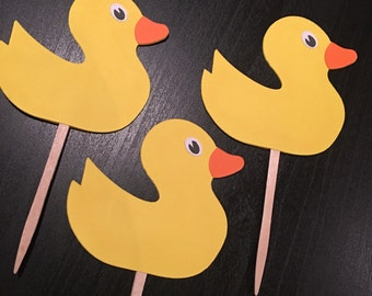 Ducklings Cupcake Toppers - Duck Die Cuts - Gender Reveal Party -Baby Shower Embellishment- Scrapbooking Duck Die Cuts -Duckling Theme Party