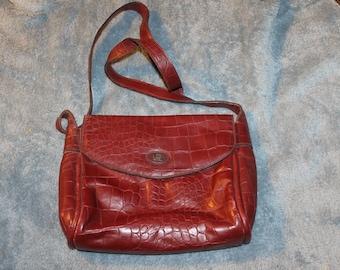 Vintage Etienna Aigner Bag, Purse, Handbag, Maroon, Leather, Soft, Very Good Vintage Condition, Long Crossbody Strap, Bow at Top of Strap