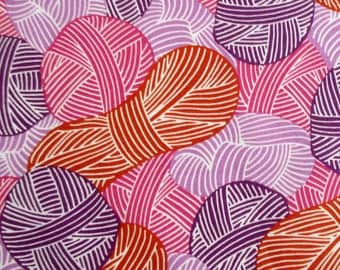 Fabric, Wound Up in Purples and Reds, Yarn, Skeins, Knitting, Cloud 9, Organic Cotton, One Yard or More