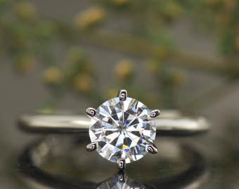 Estrella B - 1ct Moissanite Engagement Ring in White Gold, Forever One Moissanite, Charles & Colvard, Classic 6-Prong Setting