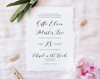 Simple Wedding Invitation Set | Printable Wedding Invitation Suite | Wedding Details, RSVP Card | Basic Wedding Invites | WI-019