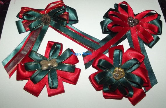 Puppy Bows ~ Extra large CHRISTMAS collar bow and matching topknot dog grooming hair bow