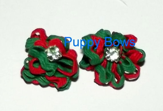 Puppy Bows ~TINY CHRISTMAS rhinestone FLOWER dog bow  pet hair bow Maltese