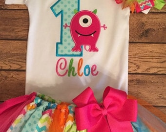 Bright Girly Monster Birthday Tutu Outfit