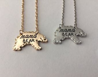 Mama Bear necklace gift pendent Mother's Day love Heart