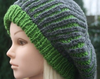 Large Beret, Hand Knit Hat, Women's Hat, Green and Grey Beret, Knit Beret, Beanie hat, Ready to ship, Women's Accessories