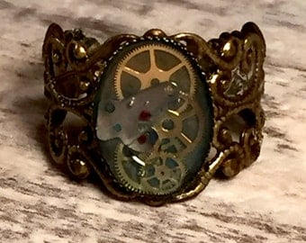 Steampunk Jewelry Steampunk Ring Steam punk Ring Steam punk Jewelry Vintage Watch Part Ring Gear Ring Canadian shops by OneStopSteamShoppe