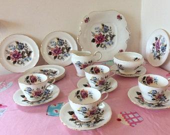 Vintage Aynsley Pink Roses Bone China Tea Set