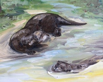 "Otters at Play - Zoo Atlanta, oil on panel, 9"" x 12"""