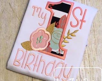 My 1st Birthday with flower appliqué embroidery design - birthday appliqué design - first birthday appliqué design - 1st birthday appliqué