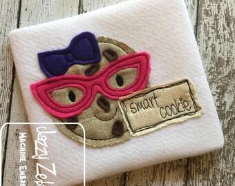 Smart cookie girl shabby chic appliqué embroidery design - cookie appliqué design - school appliqué design - nerd appliqué design - girl
