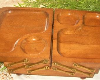 Dresser Valet, Men's Wood Valet, Desk or Dresser Organizer, Vintage Desk Caddie