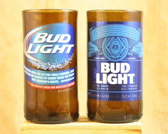 Drinking Glasses Upcycled from Bud Light Beer Bottles, Drinking Glass, Upcycled Beer Bottle, Unique Glassware, ONE Glass