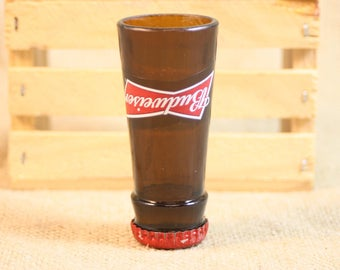 Shot Glasses Upcycled from Budweiser Beer Bottles, Shot Glass, Upcycled Beer Bottle, Unique Glassware, ONE Shot Glass