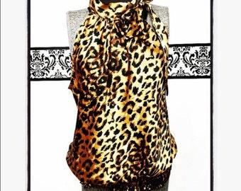 80's Silky Leopard Grunge Sleeveless Blouse by Heart Soul,  Vintage Rockabilly Leopard Tank, Size XL, 1980's Courtney Love Cheetah Blouse