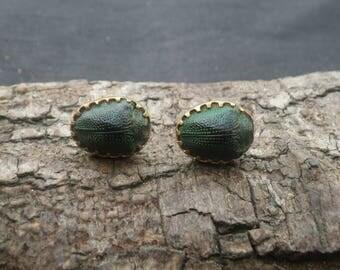 Victorian Yellow Metal Scarab Beetle Earrings