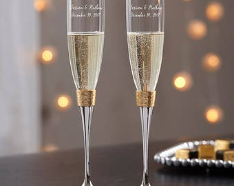 Personalized Wedding Flutes Champagne Hammered Gold Band Glasses Ceremony Engraved