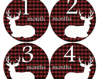 Deer monthly stickers, Baby Shower gift, Hunter month sticker, Black Red Sticker, Baby monthly sticker, growth stickers, onesie sticker A203