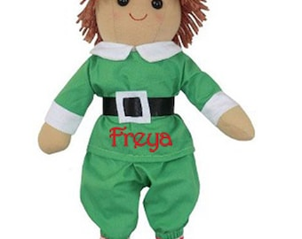 Personalised Elf Rag Doll, ELF, First Christmas, Name embroidered, Present, Rag Doll, Personalized, 40 cm tall, Christmas Elf Doll