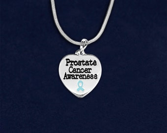12 Prostate Cancer Awareness Heart Necklaces in Gift Boxes (12 Necklaces) (N-HRT-12PC)