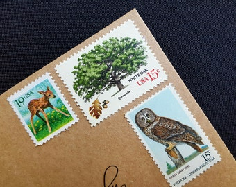 Rustic invitation Unused US Postage Stamps 49 Cent Face Value Vintage Postage, Nature themed stamps, Enough for 10