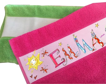 Towel named colored, Terry cloth towel can be personalised, Badezimmerdeko name, Rosi Rosinchen, 50 x 100 cm, towels